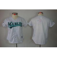 Marlins Blank White Women's Fashion Stitched Baseball Jersey