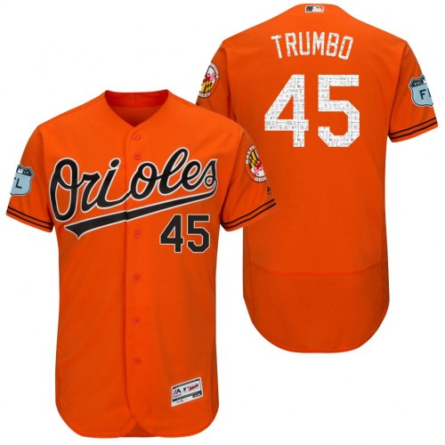 f01f6c89ace Men s Baltimore Orioles  45 Mark Trumbo 2017 Spring Training Flex Base  Authentic Collection Stitched Baseball Jersey
