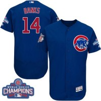 Men's Chicago Cubs #14 Ernie Banks Blue Flexbase Authentic Collection 2016 World Series Champions Stitched Baseball Jersey