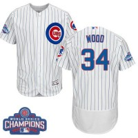Men's Chicago Cubs #34 Kerry Wood White Flexbase Authentic Collection 2016 World Series Champions Stitched Baseball Jersey