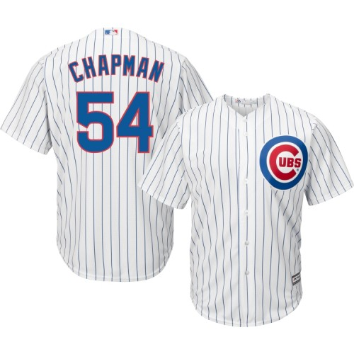 watch 3525a 91f95 Men's Chicago Cubs #54 Aroldis Chapman Cool Base Home White ...