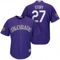 Men's Colorado Rockies #27 Trevor Story 2017 Spring Training Cool Base Stitched MLB Jersey