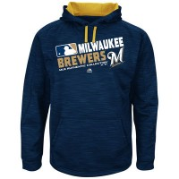Men's Milwaukee Brewers Authentic Collection Navy Team Choice Streak Hoodie
