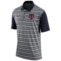 Men's Minnesota Twins Nike Gray Dri-FIT Stripe Polo