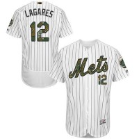 Men's New York Mets #12 Juan Lagares White(Blue Strip) Flexbase Authentic Collection 2016 Memorial Day Stitched Baseball Jersey