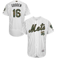 Men's New York Mets #16 Dwight Gooden White(Blue Strip) Flexbase Authentic Collection 2016 Memorial Day Stitched Baseball Jersey