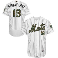 Men's New York Mets #18 Darryl Strawberry White(Blue Strip) Flexbase Authentic Collection 2016 Memorial Day Stitched Baseball Jersey