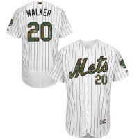 Men's New York Mets #20 Neil Walker White(Blue Strip) Flexbase Authentic Collection 2016 Memorial Day Stitched Baseball Jersey