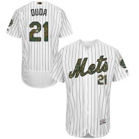 Men's New York Mets #21 Lucas Duda White(Blue Strip) Flexbase Authentic Collection 2016 Memorial Day Stitched Baseball Jersey