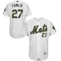 Men's New York Mets #27 Jeurys Familia White(Blue Strip) Flexbase Authentic Collection 2016 Memorial Day Stitched Baseball Jersey