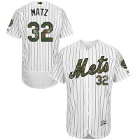 Men's New York Mets #32 Steven Matz White(Blue Strip) Flexbase Authentic Collection 2016 Memorial Day Stitched Baseball Jersey