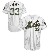 Men's New York Mets #33 Matt Harvey White(Blue Strip) Flexbase Authentic Collection 2016 Memorial Day Stitched Baseball Jersey