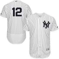 Men's New York Yankees #12 Chase Headley White Navy Flexbase Collection MLB Jersey