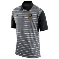 Men's Pittsburgh Pirates Nike Gray Dri-FIT Stripe Polo