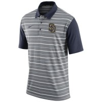 Men's San Diego Padres Nike Gray Dri-FIT Stripe Polo
