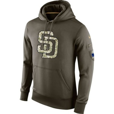 Men's San Diego Padres Nike Olive Salute To Service KO Performance Hoodie
