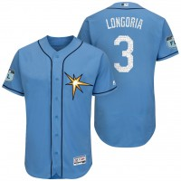 Men's Tampa Bay Rays #3 Evan Longoria 2017 Spring Training Flex Base Authentic Collection Stitched Baseball Jersey