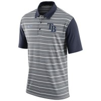 Men's Tampa Bay Rays Nike Gray Dri-FIT Stripe Polo