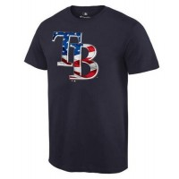 Men's Tampa Bay Rays USA Flag Fashion T-Shirt Navy Blue