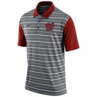 Men's Washington Nationals Nike Gray Dri-FIT Stripe Polo