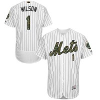 Mets #1 Mookie Wilson White(Blue Strip) Flexbase Authentic Collection 2016 Memorial Day Stitched Baseball Jersey