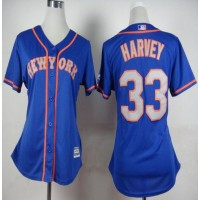 Mets #33 Matt Harvey Blue(Grey NO.) Alternate Road Women's Stitched Baseball Jersey