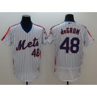 Mets #48 Jacob DeGrom White(Blue Strip) Flexbase Authentic Collection Alternate Stitched Baseball Jersey