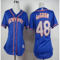 Mets #48 Jacob deGrom Blue(Grey NO.) Alternate Road Women's Stitched Baseball Jersey
