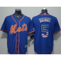 Mets #5 David Wright Blue USA Flag Fashion Stitched Baseball Jersey