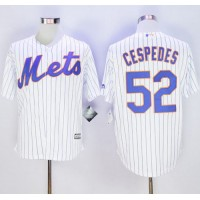 Mets #52 Yoenis Cespedes White(Blue Strip) New Cool Base Stitched Baseball Jersey