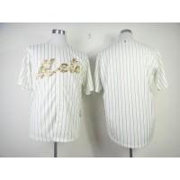 Mets Blank Cream(Blue Strip) USMC Cool Base Stitched Baseball Jersey