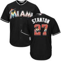 Miami Marlins #27 Giancarlo Stanton Black Team Logo Fashion Stitched MLB Jersey