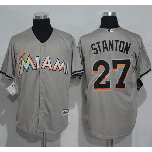 fe3f399df02 Miami Marlins  27 Giancarlo Stanton Grey New Cool Base Stitched MLB Jersey