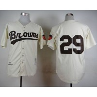 Mitchell And Ness 1953 Browns #29 Satchel Paige Cream Throwback Stitched Baseball Jersey