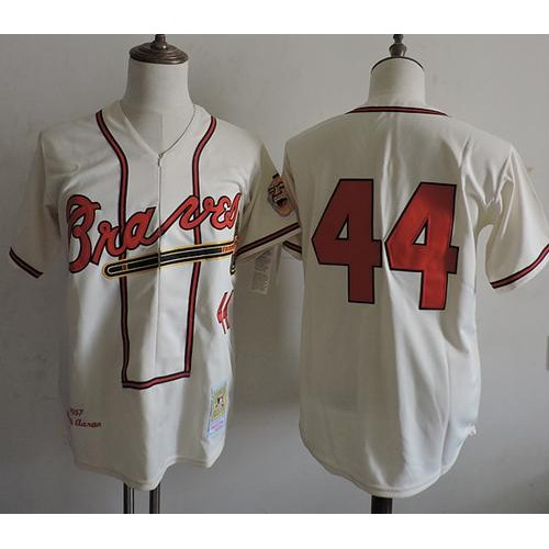 purchase cheap 65f95 1265e Mitchell And Ness 1957 Atlanta Braves #44 Hank Aaron Cream ...