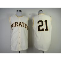 Mitchell And Ness 1960 Pirates #21 Roberto Clemente Cream Throwback Stitched Baseball Jersey