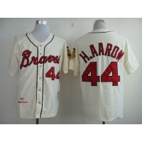 Mitchell And Ness 1963 Braves #44 Hank Aaron Cream Throwback Stitched Baseball Jersey