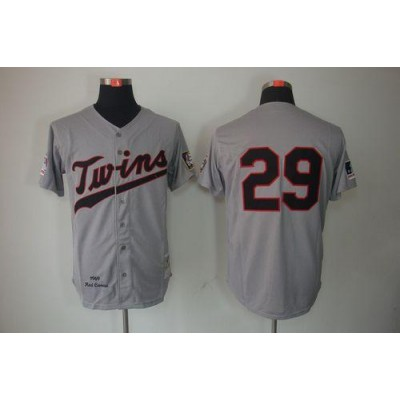 Mitchell And Ness 1969 Twins #29 Rod Carew Grey Throwback Stitched