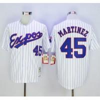 Mitchell And Ness 1982 Expos #45 Pedro Martinez White(Black Strip) Throwback Stitched Baseball Jersey