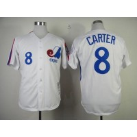 Mitchell And Ness 1982 Expos #8 Gary Carter White Throwback Stitched Baseball Jersey