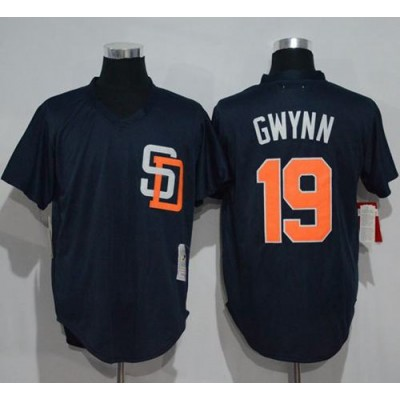 Mitchell And Ness 1996 San Diego Padres #19 Tony Gwynn Navy Blue Throwback Stitched Baseball Jersey