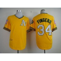 Mitchell And Ness Athletics #34 Rollie Fingers Yellow Throwback Stitched Baseball Jersey