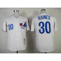 Mitchell And Ness Expos #30 Tim Raines White Throwback Stitched Baseball Jersey