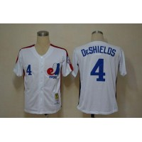 Mitchell And Ness Expos #4 Delino Deshields White Throwback Stitched Baseball Jersey