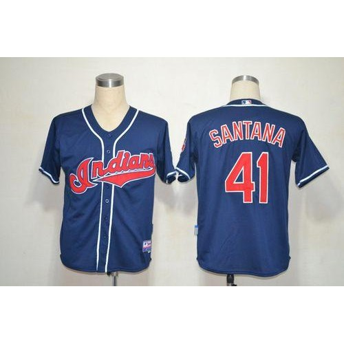 Mitchell And Ness Indians  41 Carlos Santana Blue Stitched Throwback Baseball  Jersey f7cc2d5f6