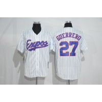 Mitchell And Ness Montreal Expos #27 Vladimir Guerrero White Strip Throwback Stitched Baseball Jersey
