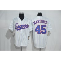 Mitchell And Ness Montreal Expos #45 Pedro Martinez White Strip Throwback Stitched Baseball Jersey