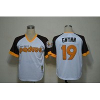 Mitchell And Ness Padres #19 Tony Gwynn White Throwback Stitched Baseball Jersey