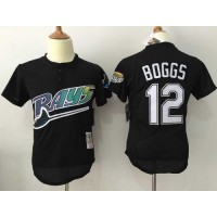 Mitchell And Ness Rays #12 Wade Boggs Black Throwback Stitched Baseball Jersey