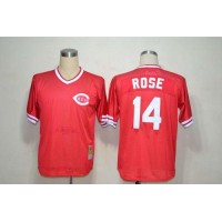 Mitchell And Ness Reds #14 Pete Rose Red Throwback Stitched Baseball Jersey